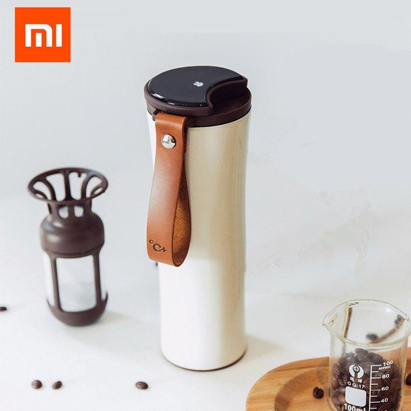 Xiaomi Mijia baiser baiser poisson en acier inoxydable thermique vide tasse à eau sensible capteur de température avec café brasseur 430 ml