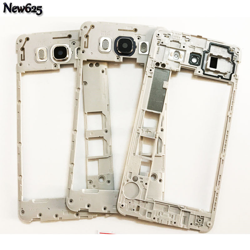 10Pcs/Lot, Original Middle Frame Housing Chassis Plate With Back Camera Glass Lens For Samsung Galaxy J7 J710 2016
