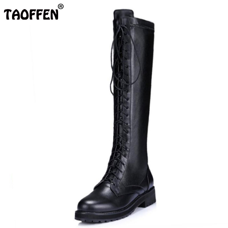 TAOFFEN New Fashion Women Real Genuine Leather Knee Boots Woman Flat Martin Boot Female Round Toe Lace Up Shoes Size 33-40 ladies casual lace up flat ankle boots fashion round toe plain cow leather boots for women female genuine leather autumn boots
