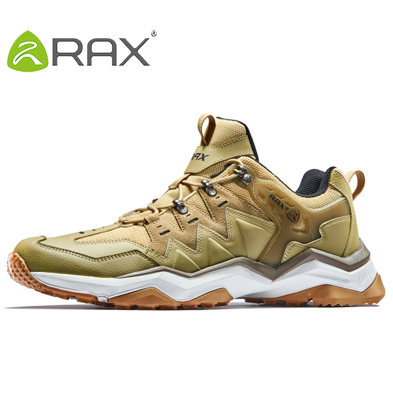 RAX Men's Waterproof Hiking Shoes  Outdoor Multi-terrian Mountain Climbing Backpacking Trekking Sneakers Men Lightweight Leather