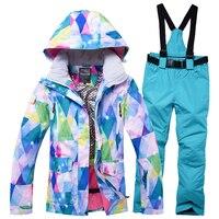 2019 RIVIYELE Women Ski Jacket Pant Skiing Snowboard Suit Hooded Windproof Waterproof Outdoor Sport Wear Super Warm Thicken Suit