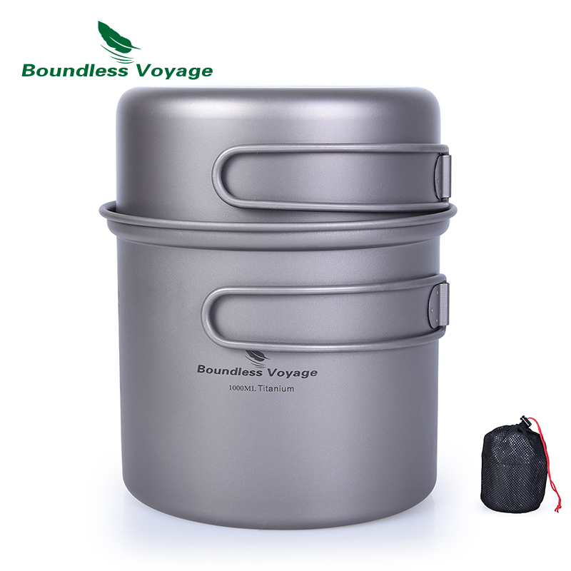 Boundless Voyage Titanium Bowl Pot Set with Folding Handle Outdoor Camping Picnic Ultralight Cooker Tableware 1000ml