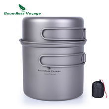 Boundless Voyage Titanium Bowl Pot Set with Folding Handle Outdoor Camping Picnic Ultralight Cooker Tableware 1000ml+500ml цена