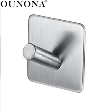 OUNONA Stainless Steel Hooks Hanger Self Adhesive Heavy Duty Coat Hanger Robe Towel Hook for Bathroom Kitchen Wall Mounted