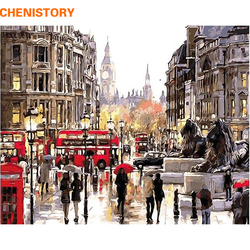 CHENISTORY Frameless London Street DIY Painting By Numbers Landscape Acrylic Paint By Numbers Modern Wall Art Picture Home Decor