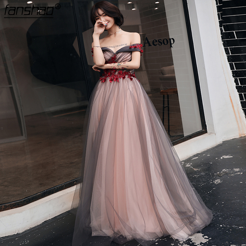 Robe De Soiree Off The Shoulder Gray And Nude Pink Tulle Evening Dress Vestido De Festa Simple Evening Gowns Custom Made