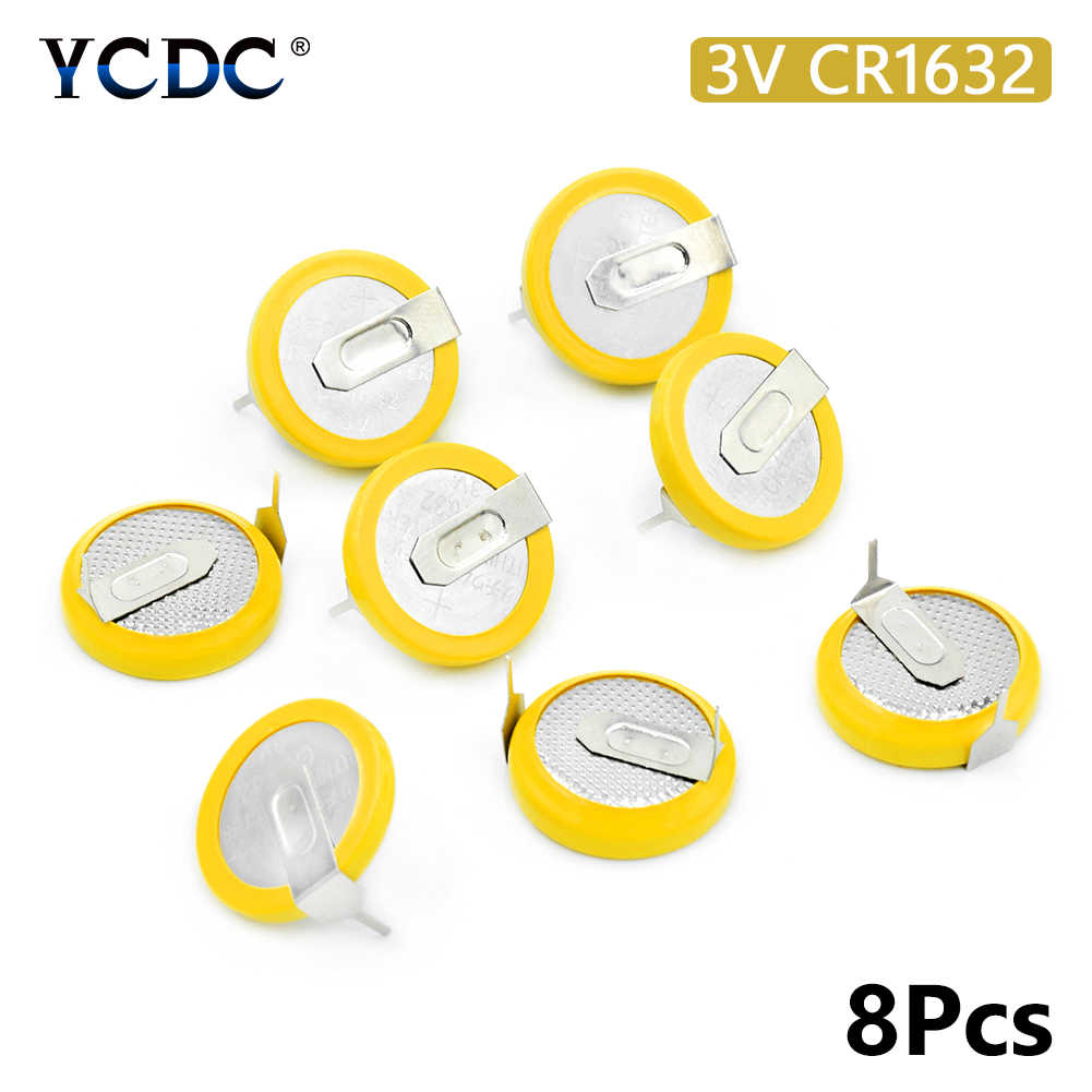 8pcs ออกแบบใหม่ 3V 120mAh CR1632 แบตเตอรี่ลิเธียมแมงกานีสเซลล์เหรียญ CR1632 Bateria 2 SOLDER แท็บยาวนาน