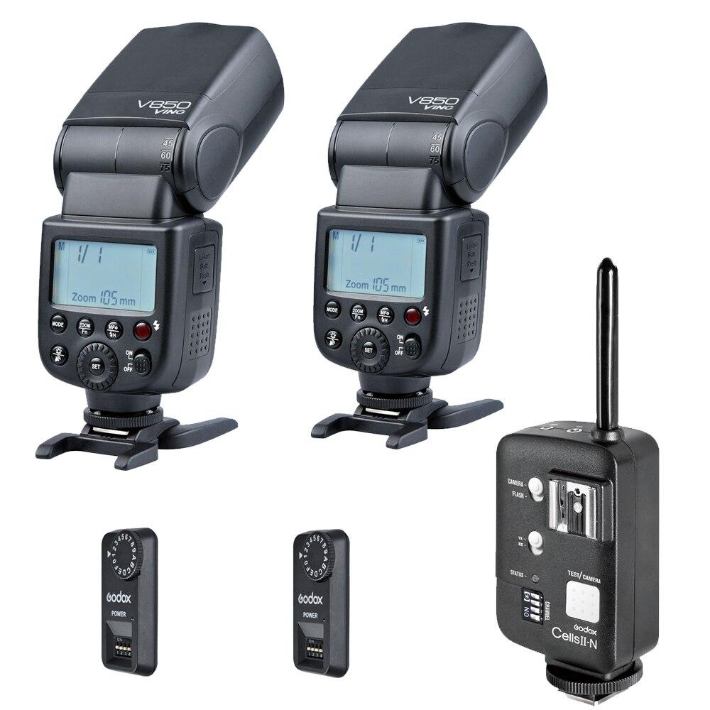 Godox V850 Flash Speedlite With Godox Cells II Transceiver And  FT-16S Wireless Receiver For Nikon Camera aputure 16 channel flash speedlite