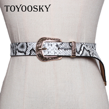 Women Men Belt Snake PU Leather Black White Red for Pants Jean Hup Rose Pin Buckle Strap For Man 2018