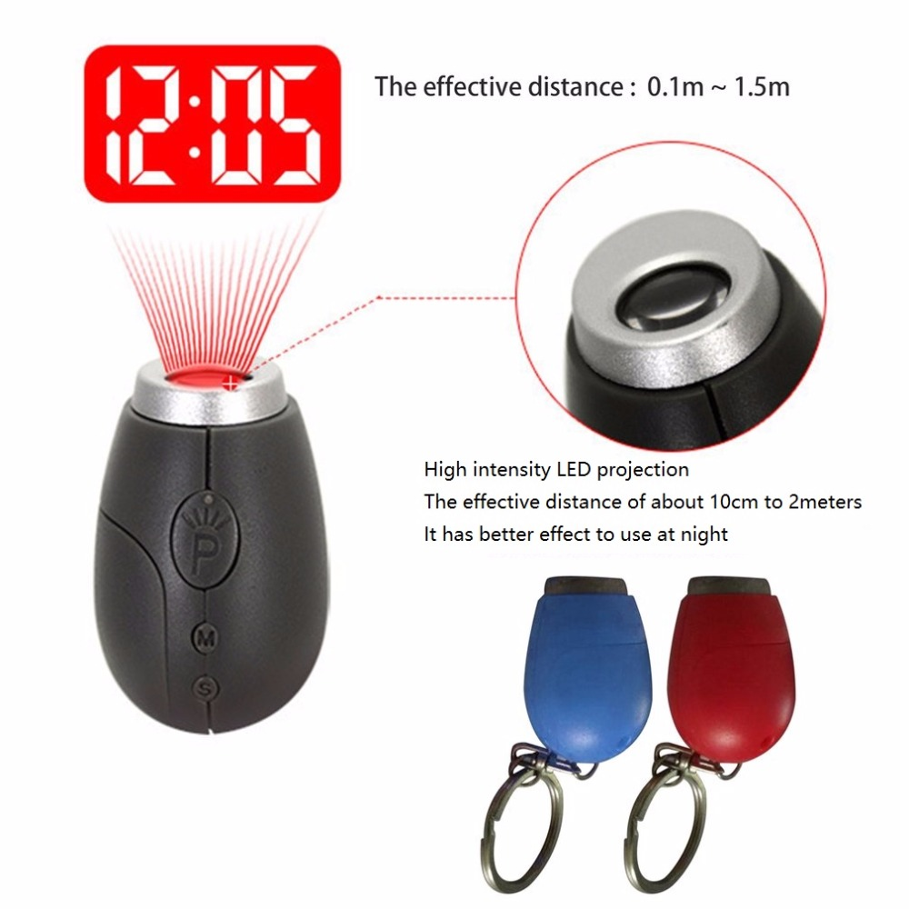 Portable Digital Time Projection Clock Mini LED Watch Night Light Projector Flashlight With Hanging Rope