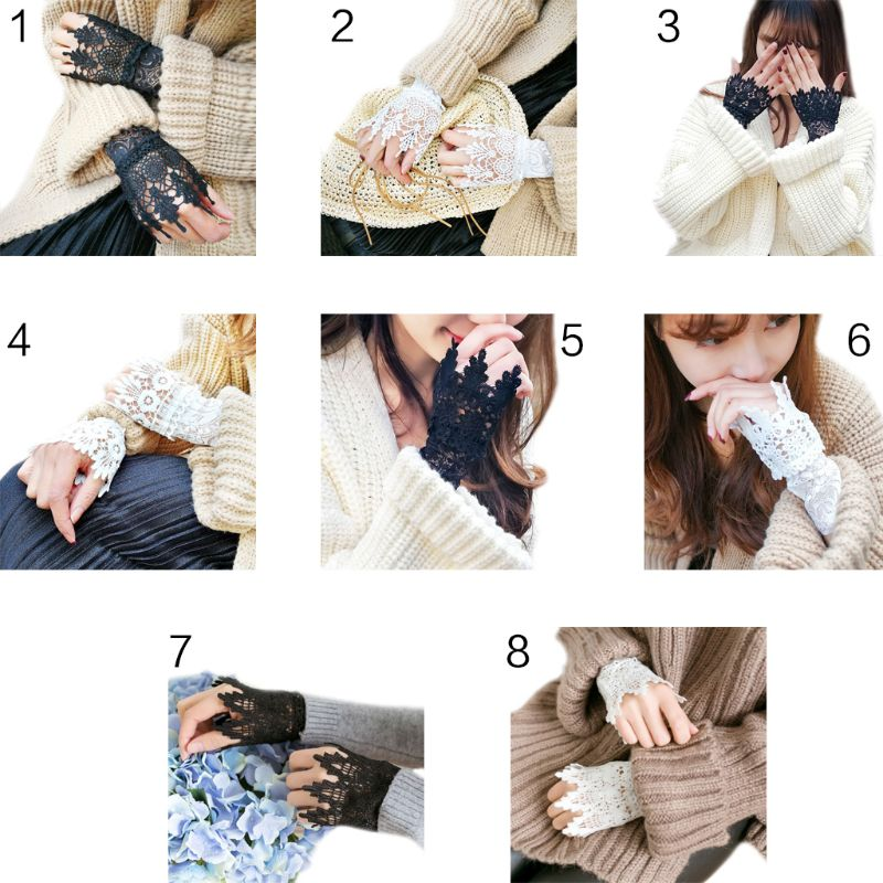 2Pcs/Pair 8 Styles Women Girls Korean Style Fake Sleeves Cuffs Hollow Out Embroidered Crotchet Floral Lace Apparel Arm Warmers