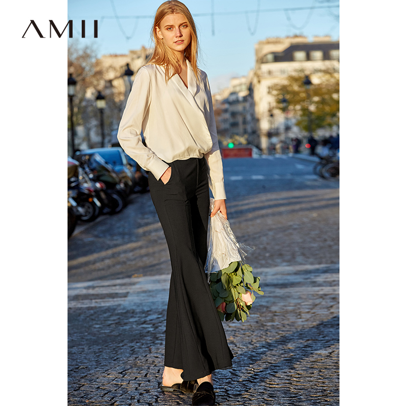Amii Women Elegant Flare Pants Long 2019 Spring New Causal Chiffon Soft Empire Solid Female Ankle