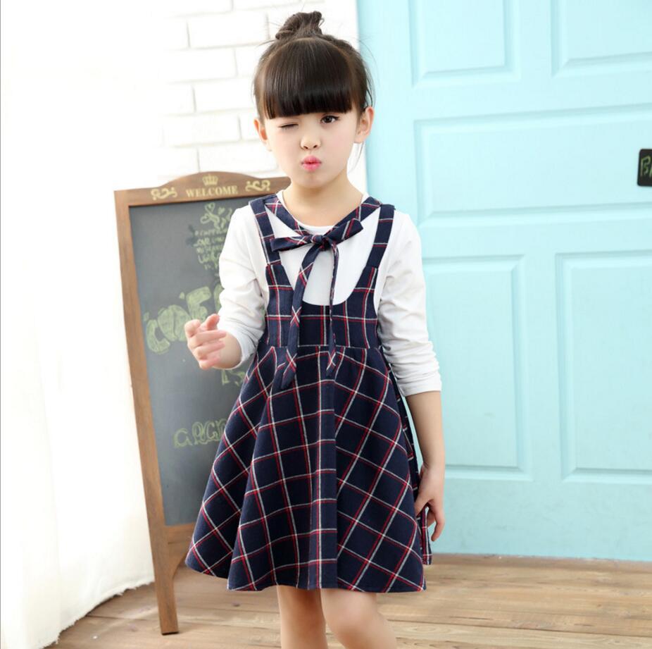 2017 girls dress clothes plaid girls school uniform dress for ...