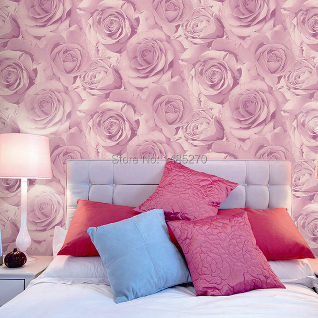 us $32.9 |classic fashion rose wallpaper bedroom background wedding house  wallpapers purple pink roses wall paper vinyl rolls mural yellow-in