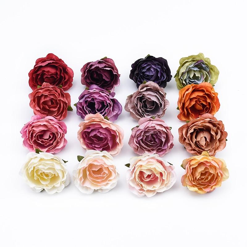 10 pièces 4cm multicolore mariage décoration soie roses scrapbooking décor à la maison plantes artificielles fleurs décoratives couronnes pompons