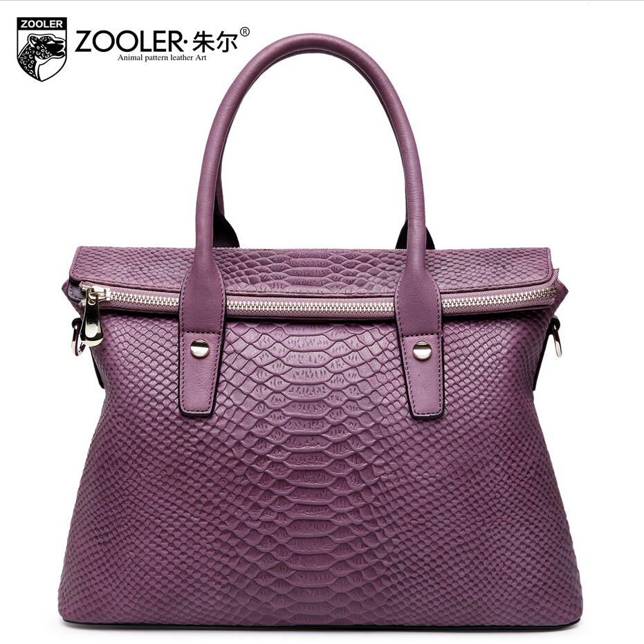 zooler genuine leather women bag brands fashion Serpentine quality head layer cowhide women handbags shoulder messenger bag