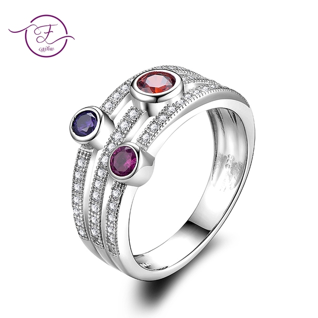 925 Sterling Silver Popular Layer Inlay Three Colors Zircon Ring for Women Fine