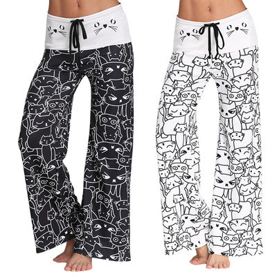 2019 Fashion Women's Digital Print Cartoon Cat Pattern Drawstring   Wide     Leg     Pants   Loose Straight Trousers Long Female Plus Size