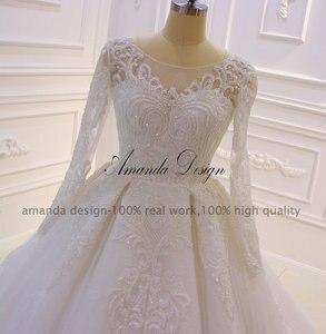 Image 3 - Amanda Design nikah elbisesi Full Sleeves Lace Appliqued Crystal Wedding Dress