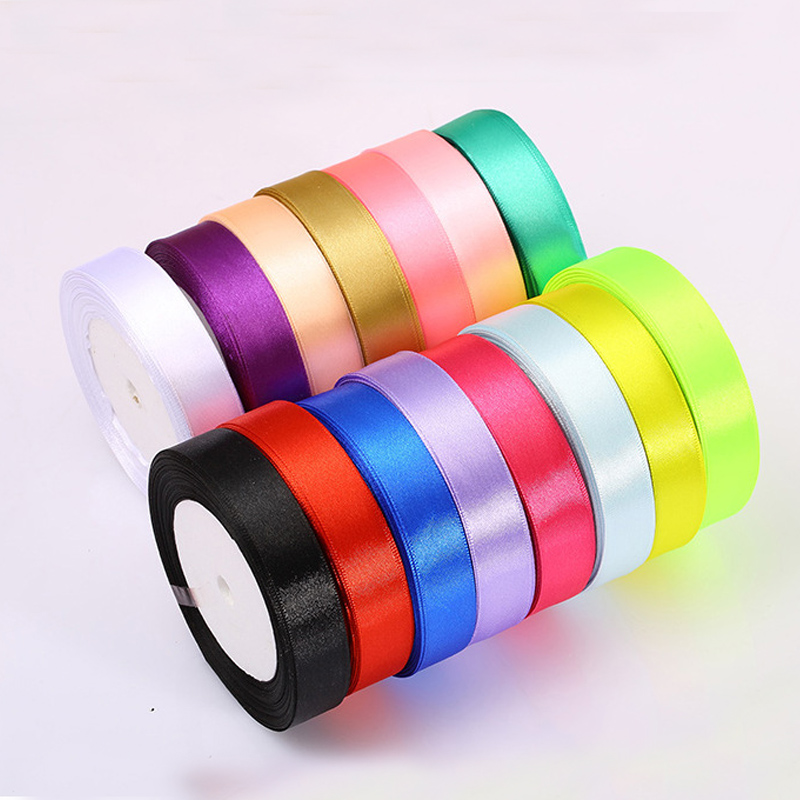 A Roll 2cm Width Fabric Satin Ribbon Single Face Polyester Ribbons