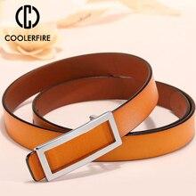 COOLERFIRE New Designer Gold Buckle Belt Waist Female  Skinny Thin Genuine Leather Belts For Women Dress LB016
