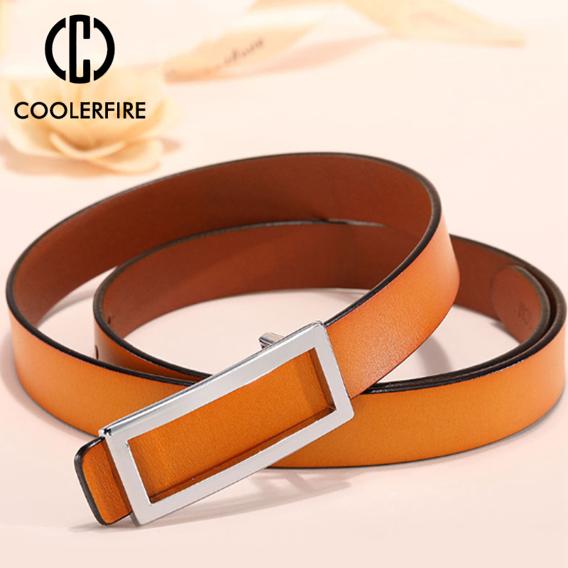 COOLERFIRE New Designer Gold Buckle   Belt   Waist Female Skinny Thin Genuine Leather   Belts   For Women Dress   Belt   LB016