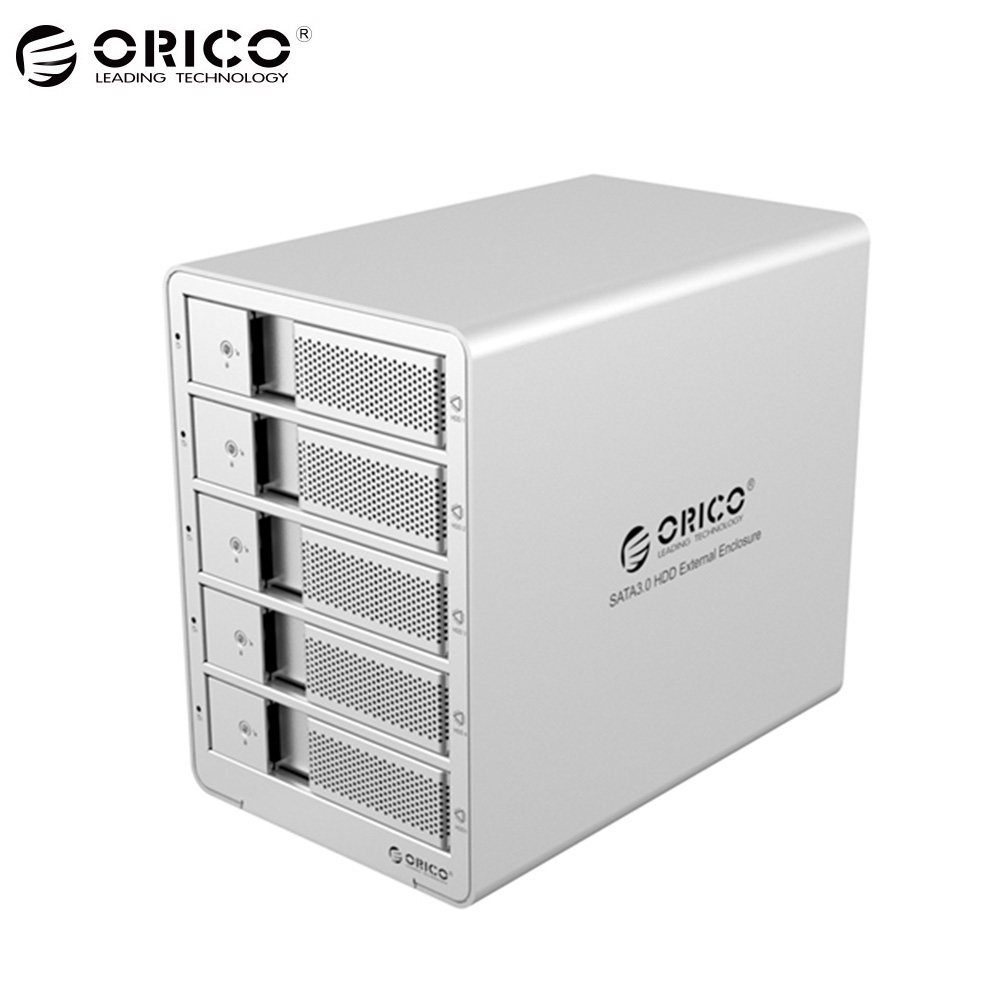 ORICO Silver 9558RU3 Aluminum USB 3.0 5 bay 3.5inch SATA Hard disk Drive Enclosure Support 40TB Drive Docking Station Case acasis usb 3 0 mobile hard disk drive docking station for 2 5 3 5 sata hdd white max 4tb