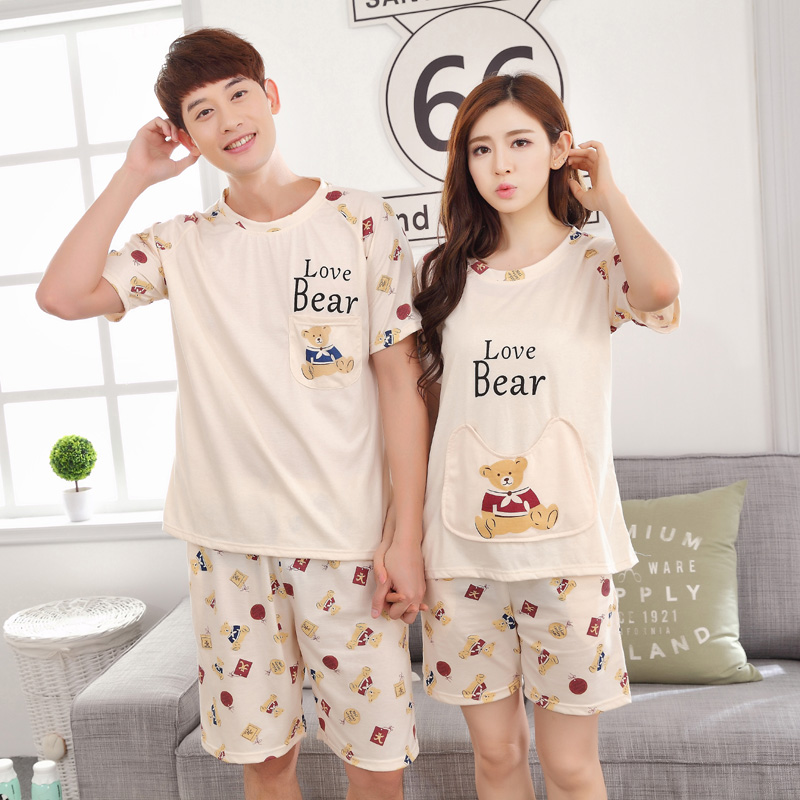 Summer short sleeve sleepwear women and men cute bear pyjamas 100% cotton pyjamas