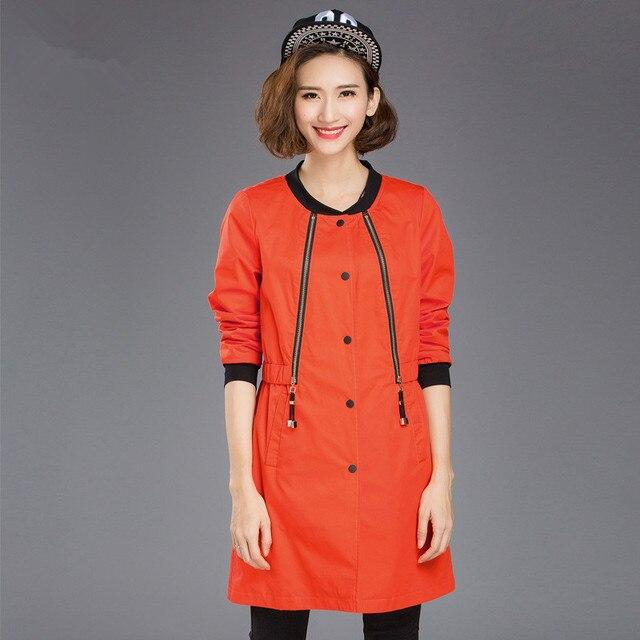 2016 женщин жир мм осень тонкий дикий стиль моды ветровка куртка большого размера для женщин Топы