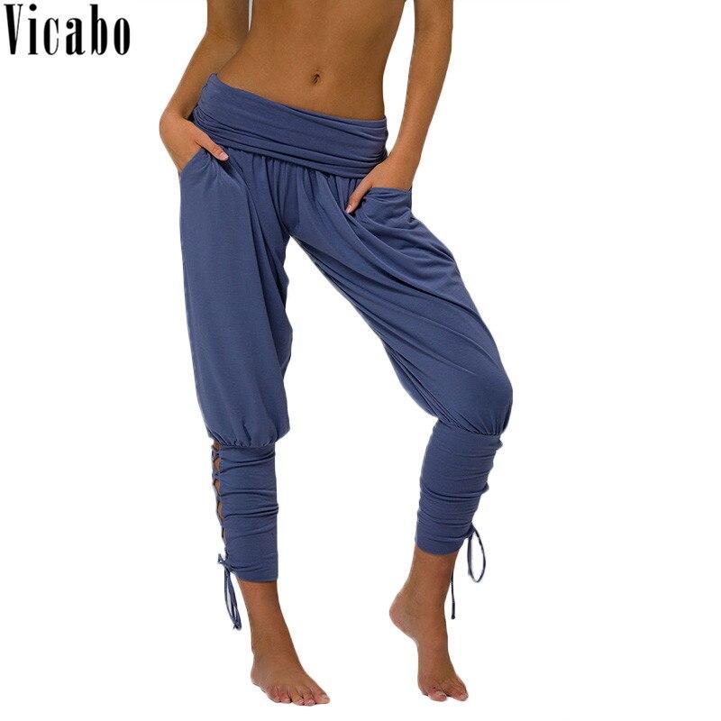 Vicabo Summer Women's Lace up Mid Waist Pencil   Pants   Female Casual Trousers Joggers Sweatpants Ladies   Pants     Capri