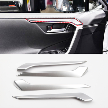 Fit for Toyota RAV4 XA50 2019 2020 Car Styling ABS Matte Interior Door Decoration Strips Trim Cover 4pcs Auto Accessories