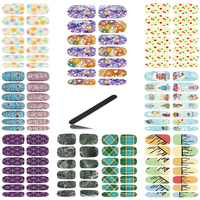 10pcs Set New Water Transfer Nail Art Sapphire Flowers 3d Design Decor Nail Stickers Minx Manicure