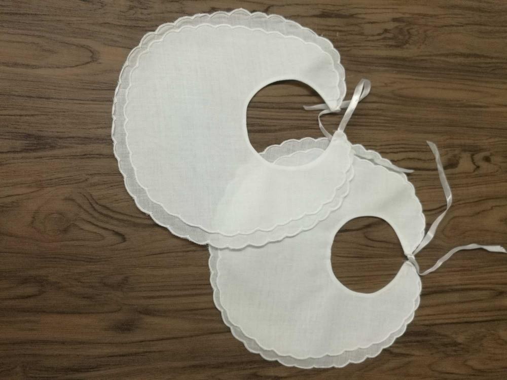Set Of 36 Fashion White Linen Double Scalloped Baby Bib 9