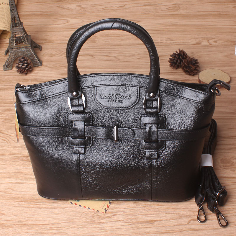 Gold coral New style fashion genuine leather women messenger bags Fashion cowhide shopping handbags ladies shoulder bag #273-L fashion leather handbags luxury head layer cowhide leather handbags women shoulder messenger bags bucket bag lady new style