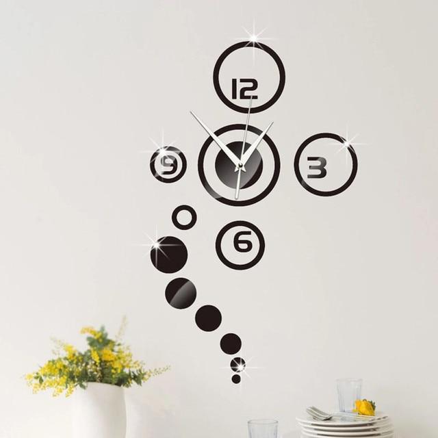 3d diy wall clock modern design mirror surface wall sticker clocks