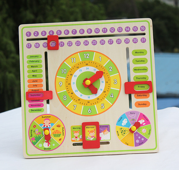Baby Toys Calendar Clock Puzzle Can Hang Multifunctional Wooden Clock Child Early learning Wooden Toy Birthday Gift