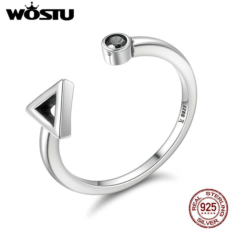 wostu aliexpress hot sale 925 sterling silver geometric finger rings for women fine s925 silver jewelry gift cqr144