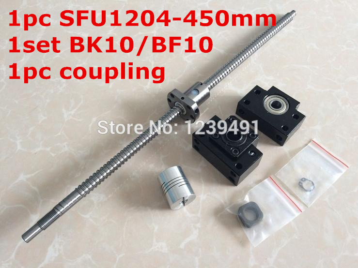 sfu1204  rolled ballscrew   set :  450mm with end machined + single ball nut + BK/BF10 end support + coupler for  cnc parts rolled ballscrew sfs1616 with single nut can be end machine