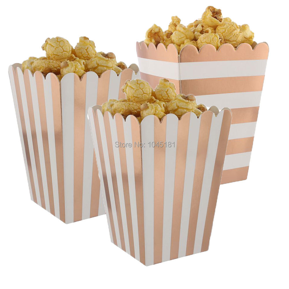 Ipalmay Metallic Rose Gold Popcorn Boxes Buffet Dessert