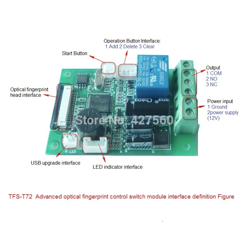 ФОТО Biometric fingerprint control switch relay output  car ignition elevator device control door access control TFS-T72A
