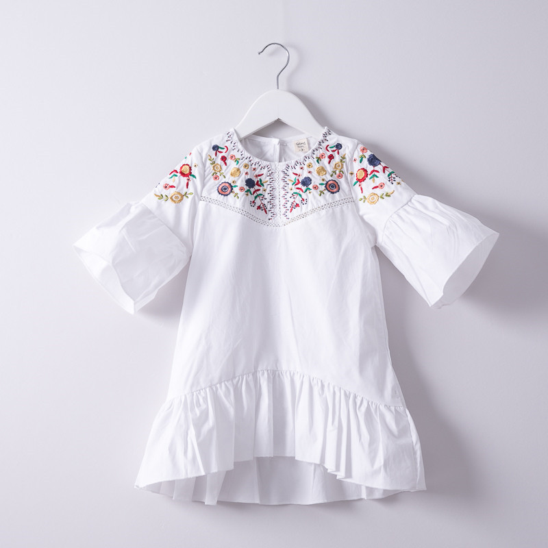 Summer Hurave Colorful Flower Embroidery crew neck Dress Children lantern Sleeve Dress Kids causal Baby Girls Dresses hurave 2018 baby girls clothes children sleeveless crew neck mesh tutu dresses causal striped cotton infant lace shirts dress