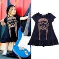 2-7Y Baby Girl Kids Dress Princess Party Short Sleeve Dress Summer Cotton Kids Child Girl Dress Clothes Navy Blue