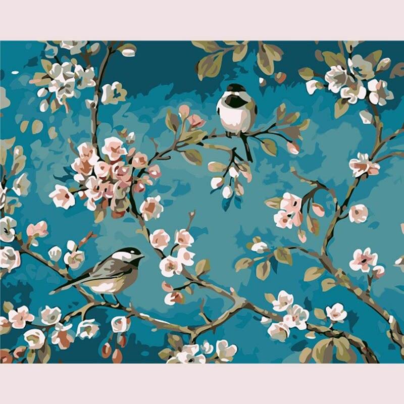 BRICOLAGE Peinture By Numéros Peinture Sur Toile Kits Acrylique Peinture Avec cadre Pour La décoration intérieure Mur Art Photo Fleur Illustration et oiseaux