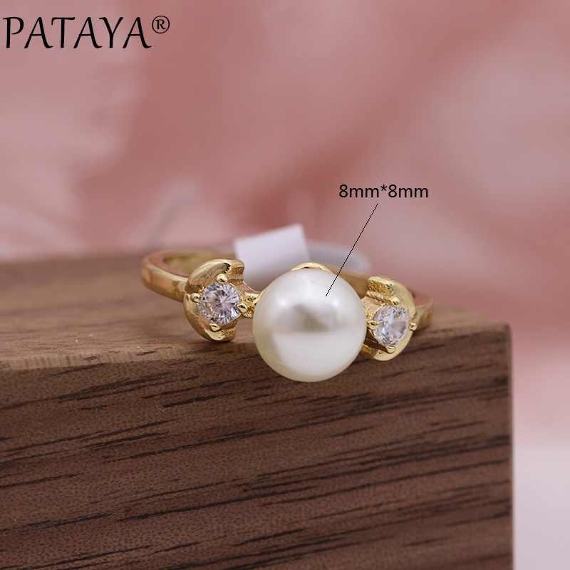 PATAYA, nuevas perlas de imitación de oro color champán, anillos redondos de circón Natural, joyería para fiesta y boda, anillo bonito con forma de hoja para chicas
