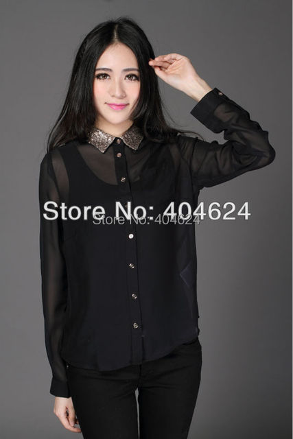 733df2fa0f6e20 FreeShipping Elegant Perspective Long sleeve Turndown Collar Chiffon Blouse  Vintage Button Black Shirt Classic Blouse Women Tops