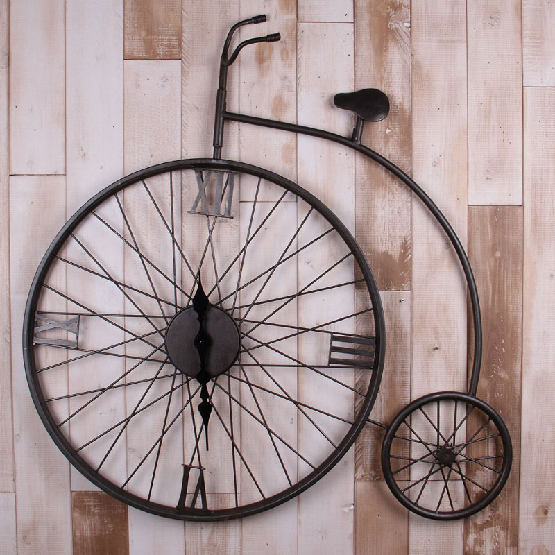 Vintage American country living room wall clock wrought iron font b bicycle b font decorated bar