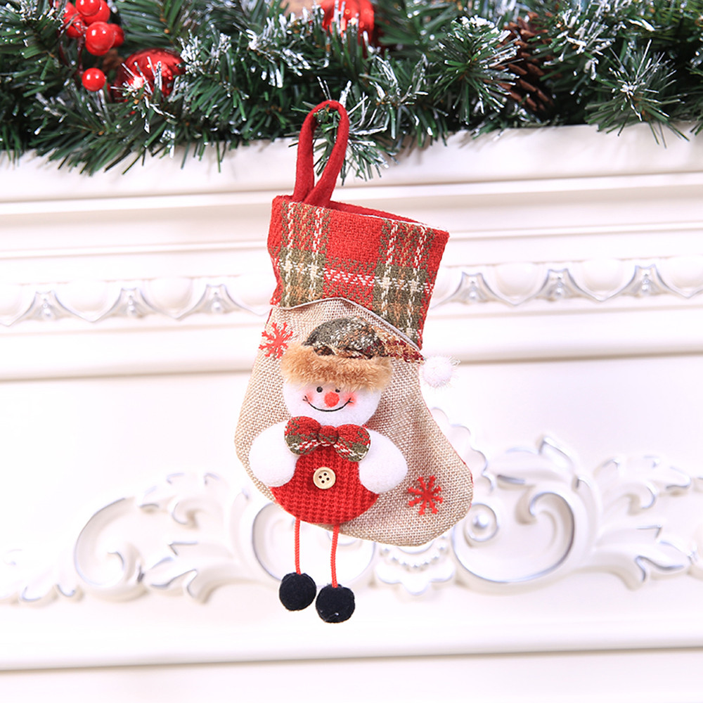 Mini Christmas Stockings Socks Santa Claus Candy Gift Bag Christmas Decorations for Home Festival Party Ornaments L4 1