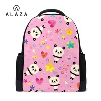 ALAZA Custom Backpack Cutest Panda Printing Large Space Polyester Waterproof Laptop Bag School Travel Shoulder Bag