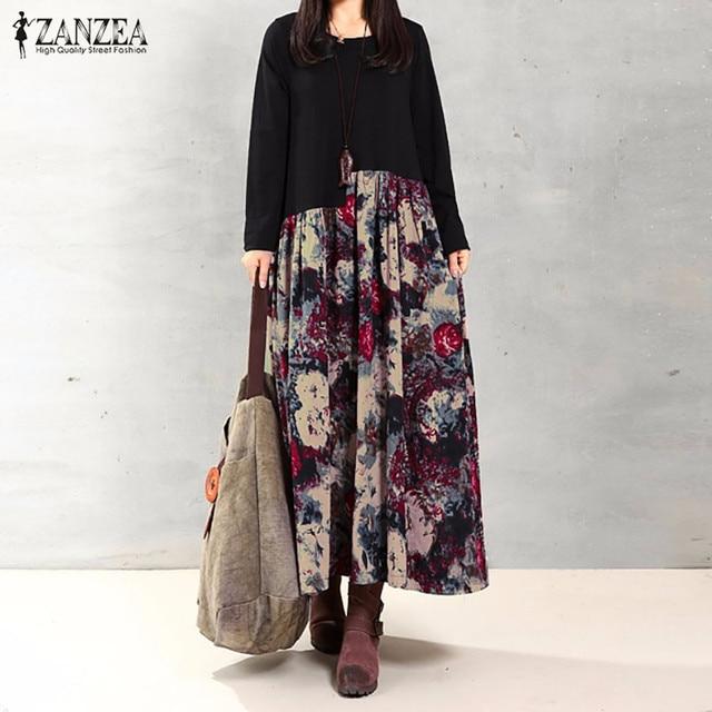 e3769d5b328 ZANZEA Women Dress Autumn 2018 Vintage Casual Loose Long Sleeve Floral  Print Cotton Linen Maxi Long