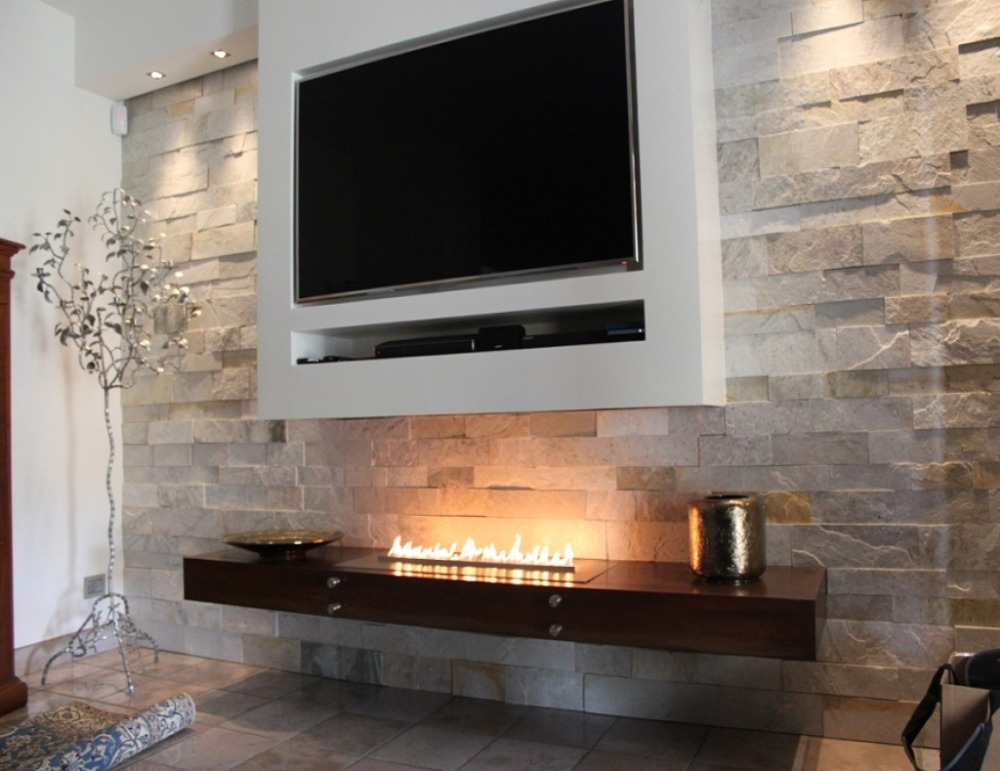 Inno Living Fire 48 Inch Silver/black Automatic Bio Ethanol Fireplace Insert